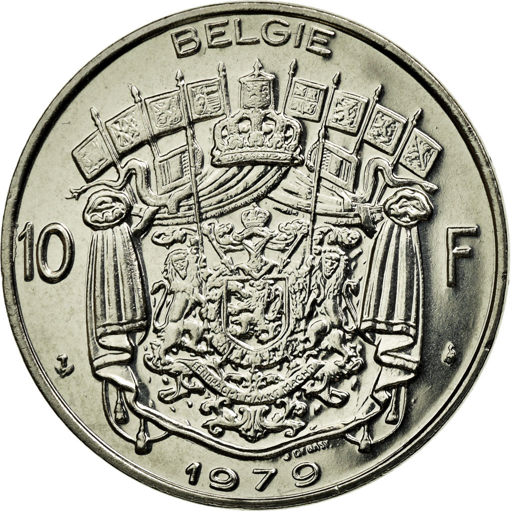 Coin, Belgium, 10 Francs, 10 Frank, 1979, Brussels, MS(65-70), Nickel, KM:156.1
