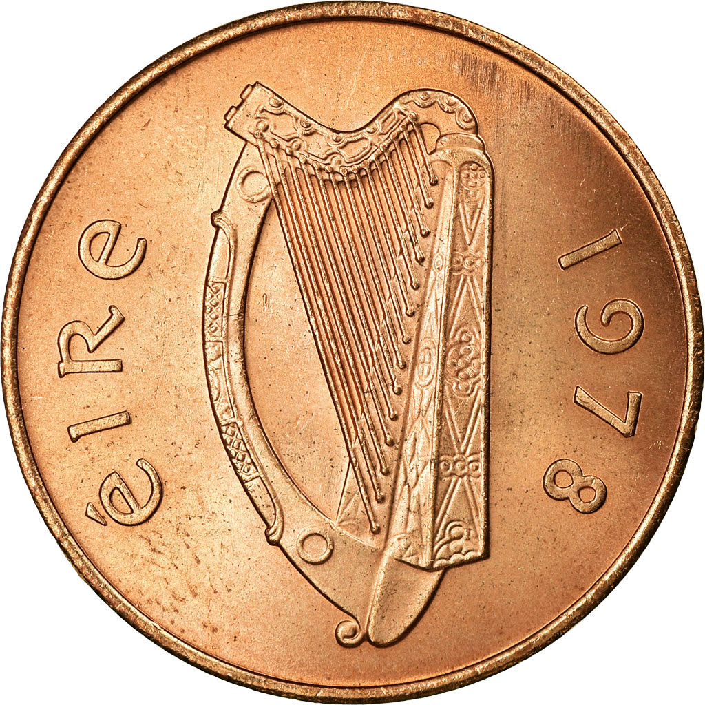 Ireland 1996-2 Pence Copper Plated Steel Coin Irish harp Stylized bird